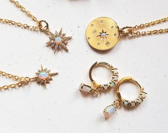 white fire opal necklace, dainty opal celestial necklace gold