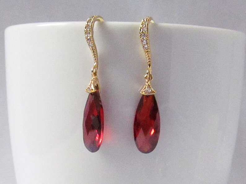 gold and red earrings red prom earrings red drop earrings ruby earrings, red crystal earrings red earrings gold red teardrop earrings