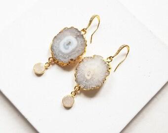 boho statement earrings, geode earrings, druzy earrings gold, rustic bridal earrings, boho wedding jewelry