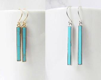 turquoise bar earrings, turquoise earrings, bar earrings, gold turquoise earrings, minimalist earrings