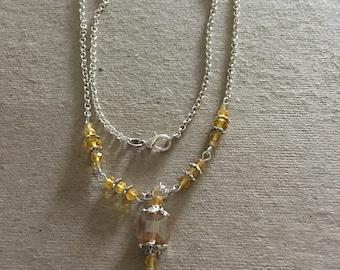 Canary Yellow Swarovski Cube Y Necklace