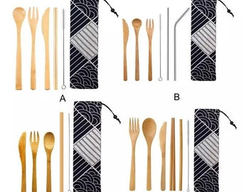 Flatware, Knives & Cutlery Other Flatware & Cutlery Eco Reusable Cutlery Wrap W/starter Kit Picnic Camping School Travel Spoon Fork Moderate Price