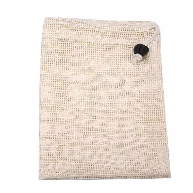 Reusable Produce Bags Mesh Cotton Eco Bag. Grocery Bags for Fresh Fruit and Vegetables
