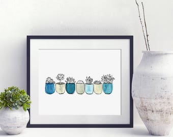 Watercolor Succulent Print, cactus print,succulent illustration, blue cactus print, watercolor cactus, watercolour succulent