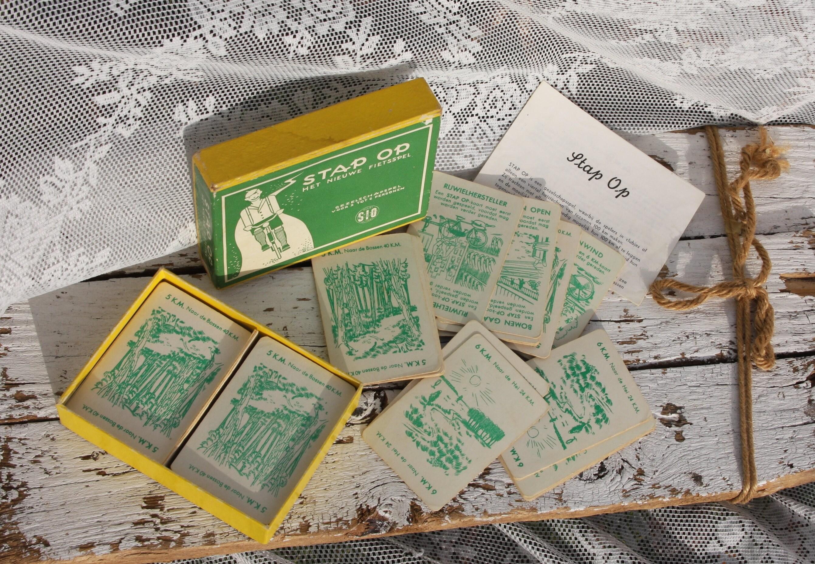 Step on card game gezelschapsspel retro vintage ca 1945 bike etsy