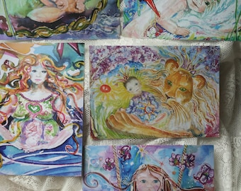 Set of 5 Art cards with babies *: Swan/Lion/In Forecast/Solar Child/Goddess Fertility/Moses/Fetus/Lion/Swan Crown