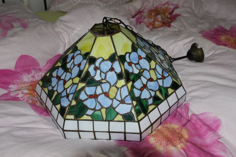 Tiffany style pendant lamp necklace glass in lead glass etsy