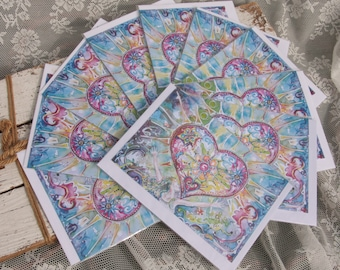 10 Art cards: Embrace the love. Loving energy Heart Mens card Valentine/Love/Christmas/Woman/Heart under the belt/hearts