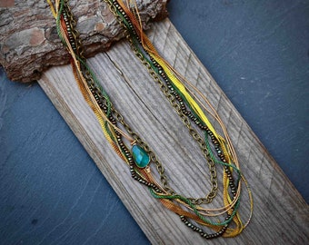 Multistrand Mustard color boho chic necklace, layered necklace