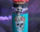 Mini Dia de los Muertos Potion Bottle - Blue Label Halloween Decor Halloween Props