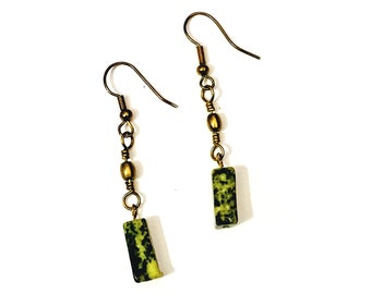 Serpentine Stone and Brass Earrings