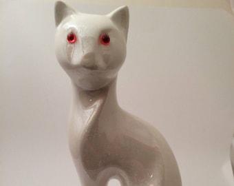 """Irridescent White Ceramic Siamese Cat Red Eyes Statue Figurine 8.25"""""""