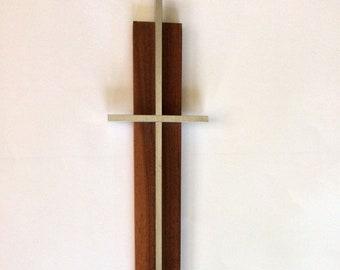 "13.5"" MCM Wooden CROSS Crucifix Aluminum Metal Religious Catholic Vintage"