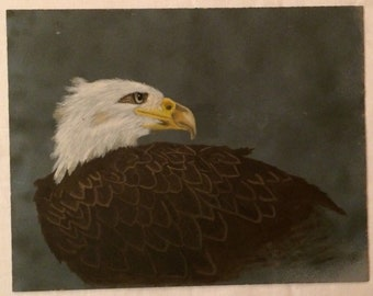 "Vintage American Bald Eagle Oil Painting Bird Unframed 11x14"""