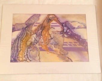 Signed Mixed Media Watercolor Painting Purple Abstract Unframed Matted