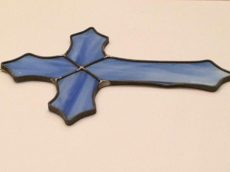 Blue Cross Religious Stained Glass Suncatcher 10x7
