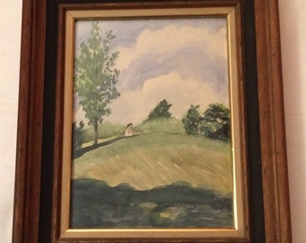 Retro Watercolor Painting Framed Vintage Figural Landscape Signed Shultz