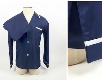 Men's Vintage Pajamas / 1960's PJs / Like New / Navy Blue with White / Large - Long / Cotton Poly Blend
