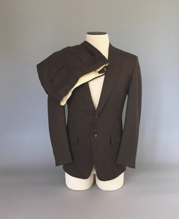 Vintage 1960s Suit / Brown Striped Suit / 60s Suit
