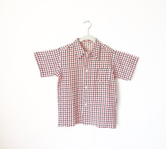 Vintage Boys Plaid Shirt / 1950s Shirt / Plaid Shi