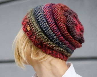 Knit Hat Womens Chunky Knitted Hat Beehive Beanie Hat Girls Hat Winter Hat Winter Accessories Accordian Hat Red Handknit Hat Fall Fashion