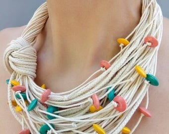 Fiber bib necklace White turquoise necklace Cotton knot necklace Yellow pink wooden beads Statement necklace Summer gift Gift for women