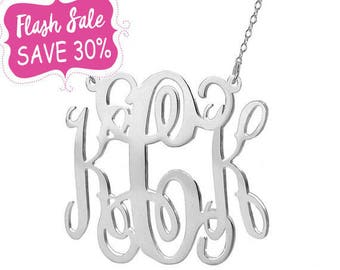 FLASH SALE 30% OFF Silver monogram necklace 1 inch pendant select any initial made with 925 Sterling silver