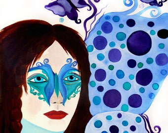 Warrior Woman Butterfly Wings Original Watercolor Painting Butterfly Mask 11x14 on Paper
