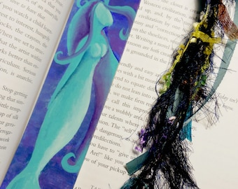Dreaming Mermaid Bookmark Original Painting with Ribbon Tassel Art for your Books
