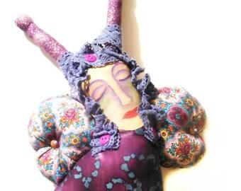 OOAK Purple Butterfly Cloth Folk Art Doll with Painted Muslin Face Whimsy Mountain Folk Art