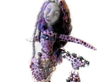 Purple Beaded Mermaid Art Doll with Pearls OOAK Cloth and Clay Original Sculpt Spirit Doll on Wood Display Base