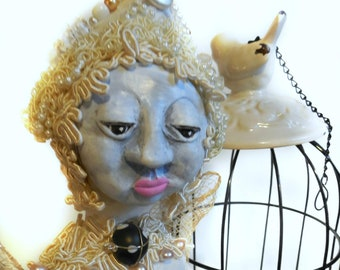White Butterfly Woman named Amaryllis Women's Empowerment Art Doll a Beaded Spirit Doll with Shabby Chic Birdcage Cloth and Clay