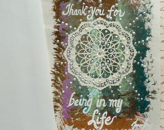 Thank You Mandala Blank Greeting Card Original Mixed Media Painting 5x7 with Envelope