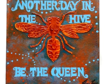 Original Honeybee Mixed Media Small Canvas Painting 6x6 - Another Day in the Hive - Be the Queen by Jeanne Fry Art