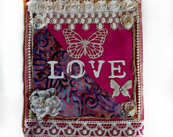 Handmade LOVE Spirit Flag Panel Mixed Media Prayer Flag Fuchsia Fabric with Lace and Flowers