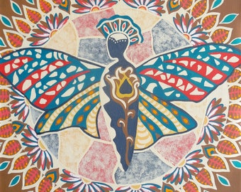 Butterfly Mandala Original Canvas Painting titled Garden of Bliss 12x12 with Art Nouveau Color Palette