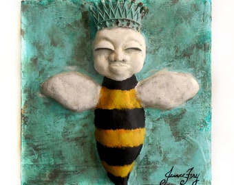 OOAK Honey Bee Clay Sculpture on Wood Panel with Patina Crown titled Queen Bee in Training