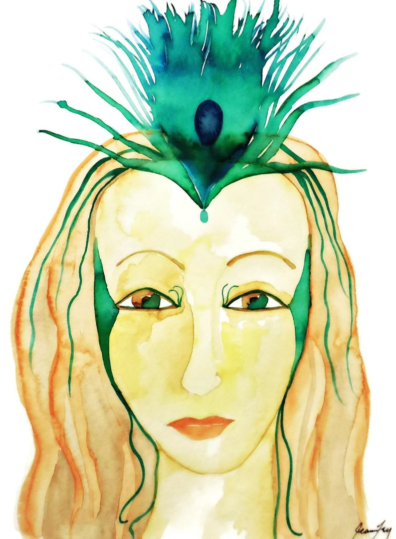 f8bad12a56b84 Goddess Hera with Peacock Feather Crown - Original Watercolor Painting on 9  x 12 Paper