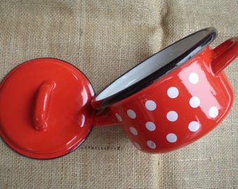 Vintage Japy French Enamelware Red and White Polka Dot Enamel Pan/Cooking Pot with Lid Made in France French Cookware