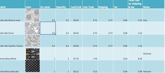 Nähen Inventar-Excel-Arbeitsmappe | Etsy