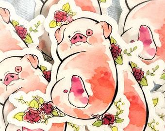 Watercolor Waddes Sticker, Gravity Falls Sticker, Waddles the Pig, Cute Sticker, Watercolor Sticker, Gravity Falls Gift