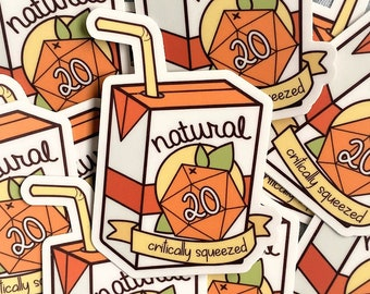 """Natural 20 """"Critically Squeezed"""" Sticker,  DND Sticker, Natural 20, Juice Sticker, Cute Patch, Dungeons and Dragons Sticker, Juice Box"""