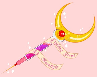 Sailor Moon Vaccine Print, Fighting Germs by Moonlight, Pro Vax Art, Sailor Moon Art, Sailor Moon Wand, Sailor Moon Gift, Science Gift