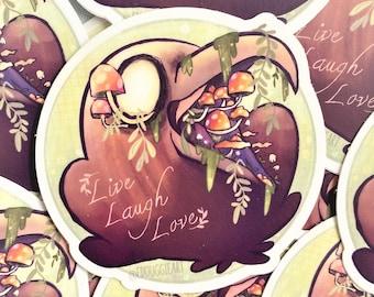 Live Laugh Love Crow Sticker, Aesthetic Sticker, Crow Sticker, Raven Sticker, Feminist Gifts, Cottagecore Sticker, Edgy Sticker, Mushroom