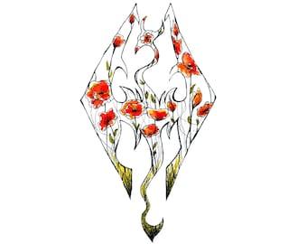 "Poppy Skyrim Print 4.2"" x 5.5"", Skyrim Decor, Skyrim Art, Skyrim Painting, Floral Print, Video Game Art, Floral Print, Elder Scrolls Art"