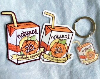 """Natural 20 """"Critically Squeezed"""" Gift Set, DND Gifts, DND Bundle, Dice Gift, Natural 20, Dungeons and Dragons, DND Sticker, dnd patch, nat20"""