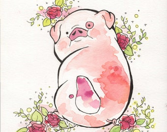 Watercolor Waddles Print 8.5 x 11, Gravity Falls Poster, Waddles the Pig