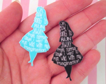 Two Alice in Wonderland Cabochons #328a