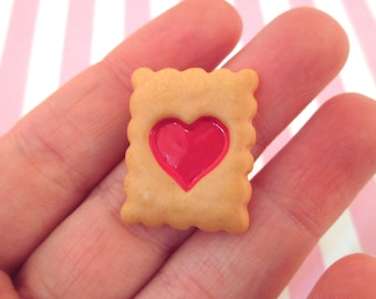 Miniature Heart Cookie Decoden Kawaii Cabochons, Alice Cabs, #116b