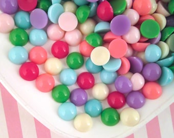 25 12mm Pastel Cabochons, Assorted Color Cabs #1162